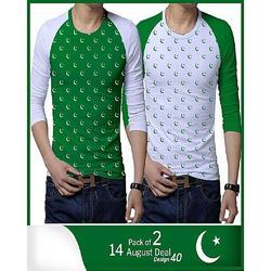 Pack of 2 Moon & Star Printed 14 August Full Sleeves t-shirt for Men